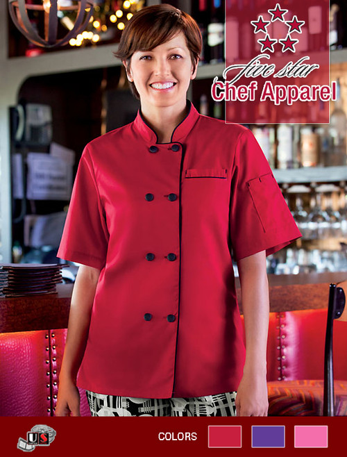 Five Star Chef Apparel Ladies Short Sleeve Executive Coat  - Red