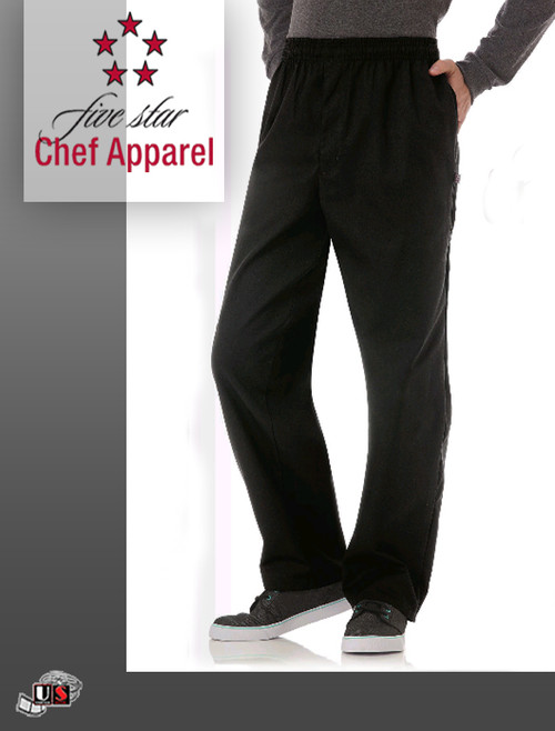 Five Star Chef Uniform Zipper Front Pant - Black