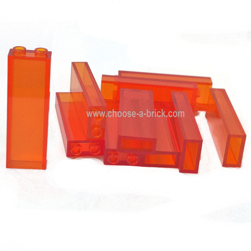 Brick 1 x 2 x 5 without Side Supports trans orange