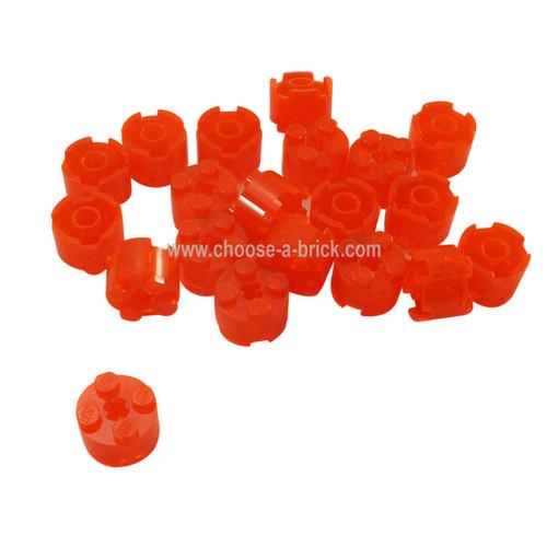 Brick, Round 2 x 2 with Axle Hole trans neon orange