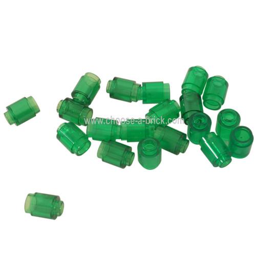 Brick, Round 1 x 1 Open Stud trans green