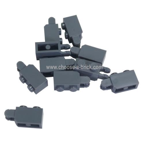 Hinge Brick 1 x 2 Locking with 2 Fingers Vertical End dark bluish gray