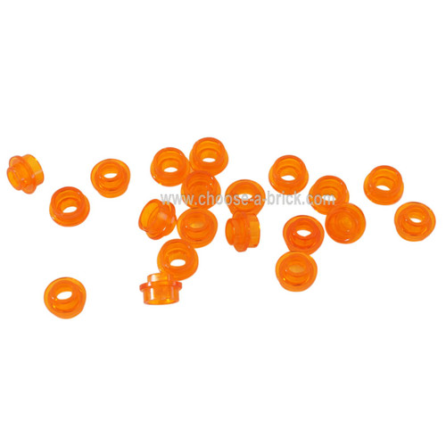 Plate, Round 1 x 1 with Open Stud trans orange