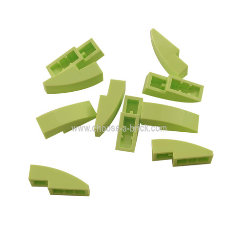 Slope, Curved 3 x 1 No Studs yellowish green