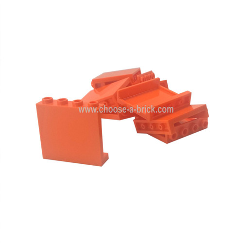 Panel 1 x 4 x 3 with Side Supports - Hollow Studs orange