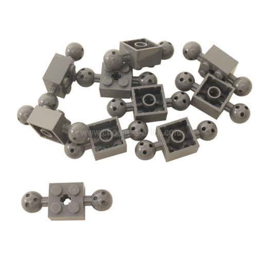 Technic, Brick Modified 2 x 2 with Balls with Holes and Axle Hole light bluish gray