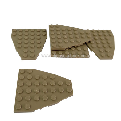 Wedge, Plate 7 x 6 with Stud Notches (Boat Bow Plate) dark tan