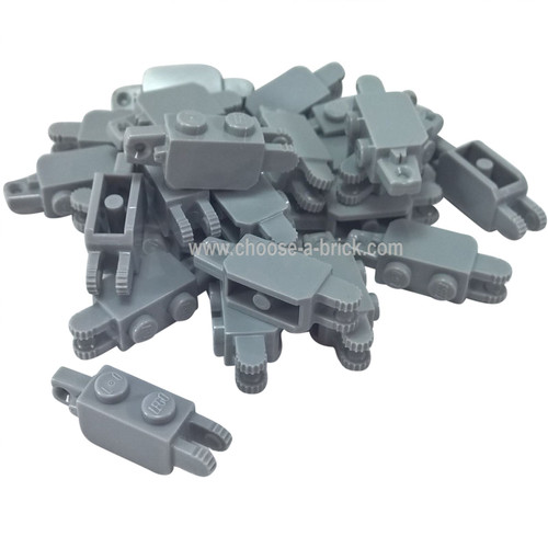 Hinge Brick 1 x 2 Locking with 1 Finger Vertical End and 2 Fingers Vertical End light bluish gray