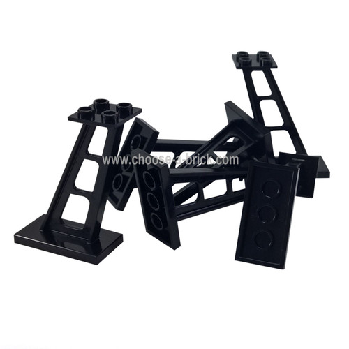 Support 2 x 4 x 5 Stanchion Inclined, 5mm Wide Posts black