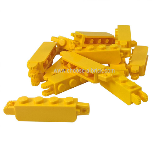 Hinge Brick 1 x 4 Locking with 1 Finger Vertical End and 2 Fingers Vertical End yellow