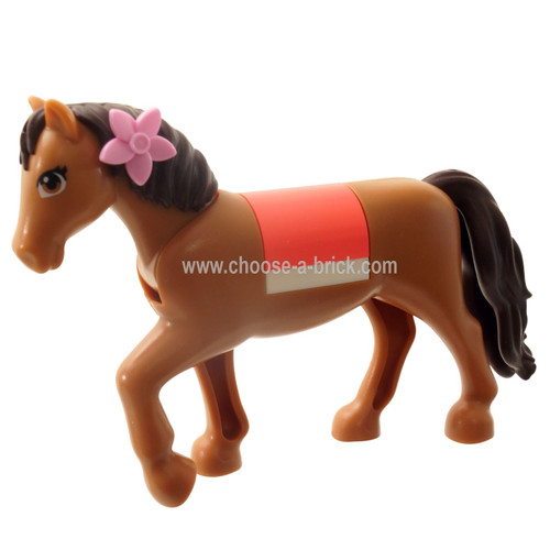 edium Nougat Animal, Land Horse with 2 x 2 Cutout and Movable Neck, Dark Brown Tail and Mane