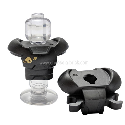 Pearl Dark Gray Minifigure Armor Space with Shoulder Protection and 2 Clips with Gold Classic Space Logo Pattern
