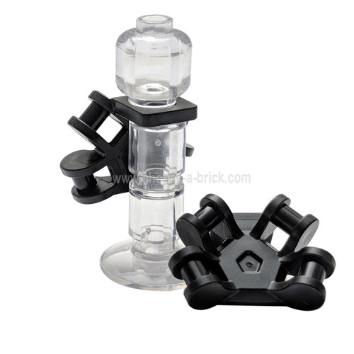 Minifigure Neck Bracket with 4 Angled Handles black