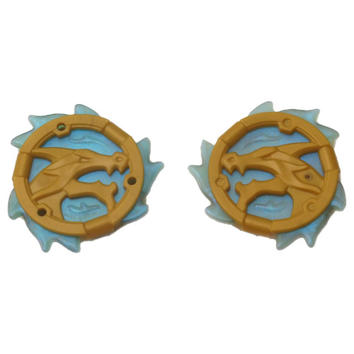 2 NEW LEGO Pearl Gold Ring 3 x 3 with Dragon Head and Satin Trans-Light Blue Flames Pattern Ninjago Wave Amulet