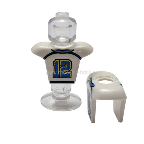 White Minifigure Hockey Body Armor with Football Jersey and Number 12 Pattern