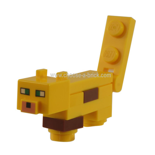 Minecraft Ocelot, Plate, Round 1 x 1 Feet - Brick Built