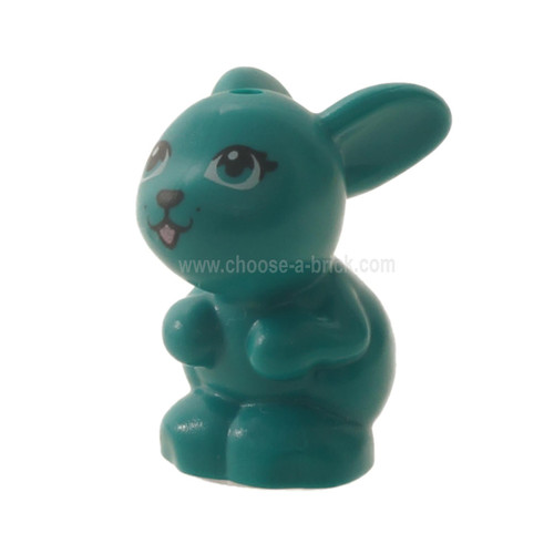 Dark turquoise Bunny / Rabbit, Friends, Sitting