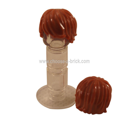 Minifig, Hair Tousled with Side Part  dark orange