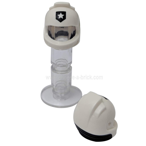 White Minifigure, Headgear Helmet Space, City Astronaut with Black Neck Base and Shield with Star Police Badge Pattern