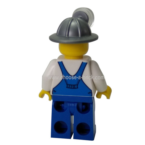Miner - Overalls Blue over V-Neck Shirt Blue Legs Mining Helmet Crooked Smile and Scar