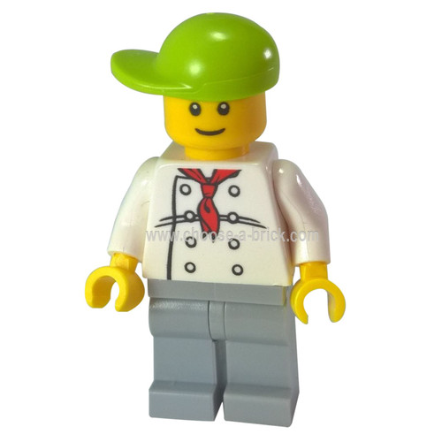 Chef - White Torso with 8 Buttons, Light Bluish Gray Legs, Lime Short Bill Cap Fire Station Hot Dog Vendor