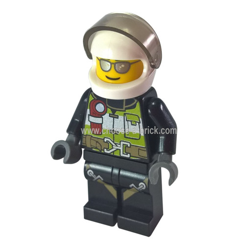 Fire - Reflective Stripes with Utility Belt and Flashlight, White Helmet, Trans-Black Visor, Silver Sunglasses