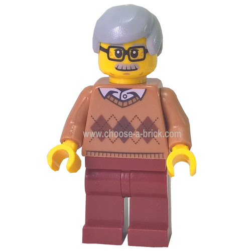 City Newsstand Visitor - Medium Dark Flesh Argyle Sweater, Dark Red Legs, Light Bluish Gray Hair 60154