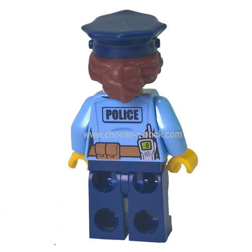 Police - City Officer Female, Bright Light Blue Shirt with Badge and Radio, Dark Blue Legs, Dark Blue Police Hat