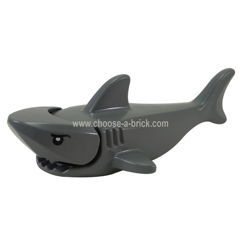 Dark Bluish Gray Shark with Gills and Black Eyes with White Pupils Pattern Complete Assembly
