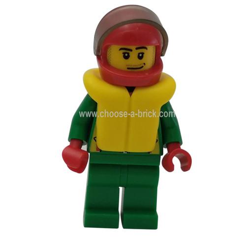 Octan - Green Jacket with Pockets, Smirk and Stubble Beard, Life Jacket - LEGO Minifigure City