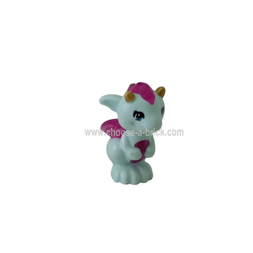Light Aqua Dragon, Elves, Baby with Trans-Dark Pink Belly, Spines and Wings and Gold Horns Pattern Lula - LEGO MInifigure Animals
