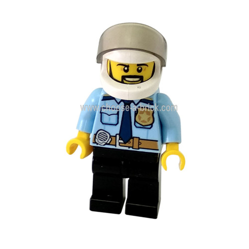 Police - City Officer Shirt with Dark Blue Tie and Gold Badge, Dark Tan Belt with Radio, Dark Blue Legs, White Helmet, Black Beard - LEGO Minifigure City