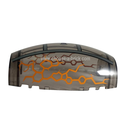 Windscreen 10 x 6 x 3 Bubble Canopy Double Tapered with Square Front Cutout and Ninjago Silver Frame with Orange Cracks Pattern