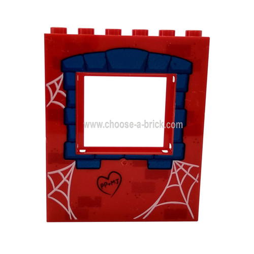 Panel 1 x 6 x 6 with Window Frame with Blue Window Frame and Spider Webs Pattern (10754)