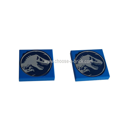 Blue Tile 2 x 2 with Jurassic World Dino Pattern 2 - LEGO Parts and Pieces