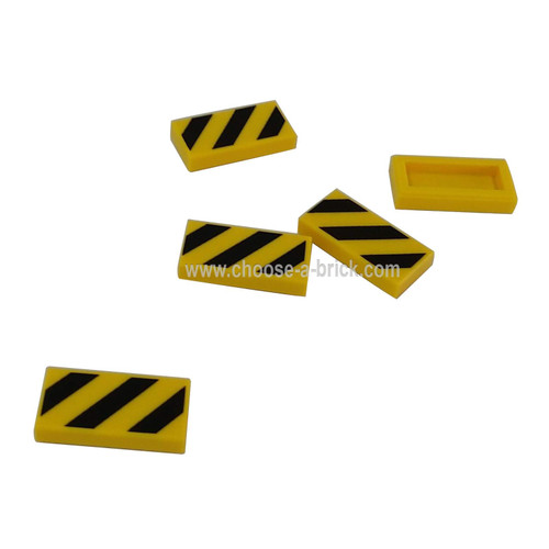 Tile 1 x 2 with Black and Yellow Danger Stripes Pattern - LEGO Parts and Pieces