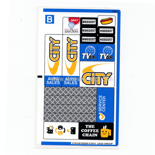 Sticker for Set 60097 - Sheet 2 - International Version - 21914-6120558 - LEGO Parts and Pieces