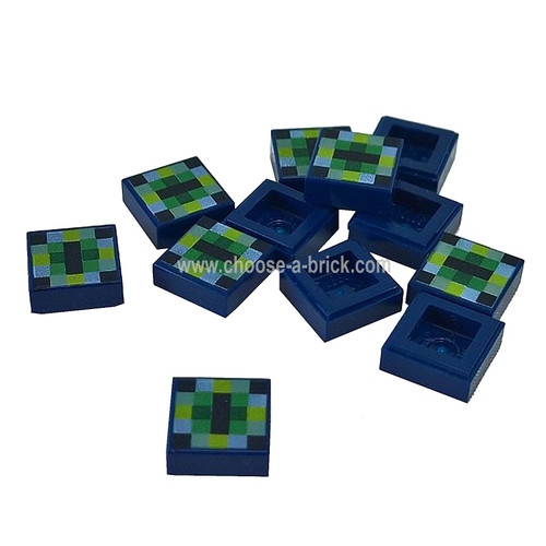 Dark Blue Tile 1 x 1 with Pixelated Pattern Minecraft - Eye of Ender Pattern - LEGO Parts and Pieces