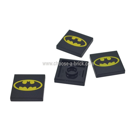 Black Tile 2 x 2 with Oval Batman Logo Pattern - LEGO Parts and Pieces