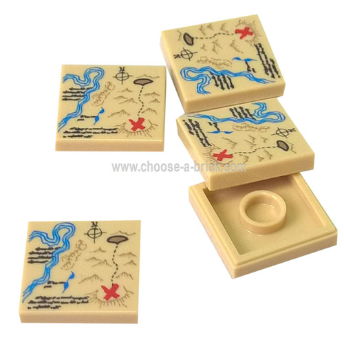 Tile 2 x 2 with Map River, Dark Tan Mountains, Handwriting Red 'X' Pattern - LEGO Parts and Pieces