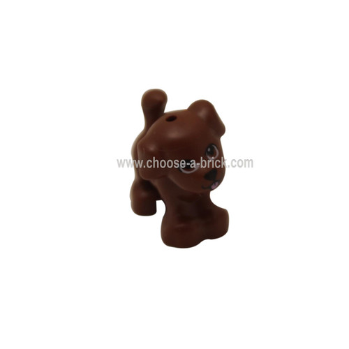 Reddish Brown Dog, Friends, Puppy, Standing with Brown Eyes, Black Nose and Mouth and Pink Tongue Pattern - LEGO Minifigure Animals