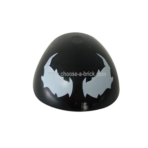 Black Large Figure Armor, Round, Smooth with Venom Eyes Pattern - LEGO Parts and Pieces
