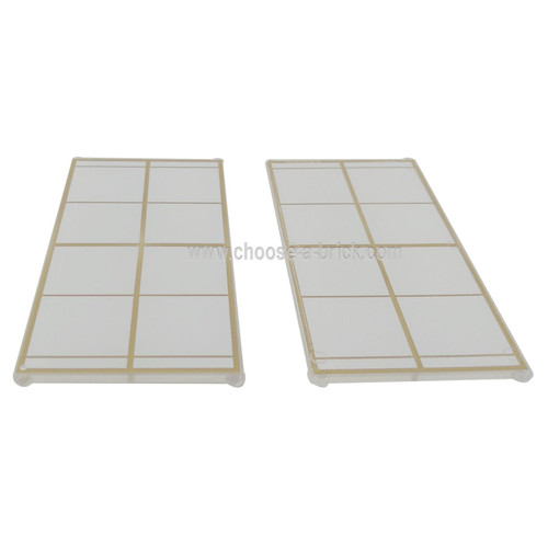 Trans-Clear Glass for Window 1 x 4 x 6 with Gold Lattice over Frosted White Background Pattern - LEGO Parts and Pieces