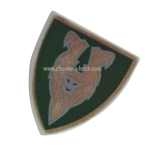 Shield Triangular with Dark Green and Gold Rascus Monkey Pattern - LEGO Parts and Pieces