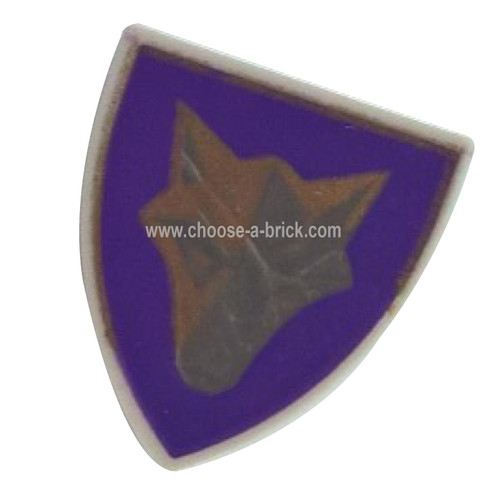 Shield Triangular with Purple and Gold Danju Wolf Pattern - LEGO Parts and Pieces