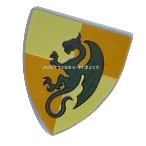 Shield Triangular with Dark Green Dragon on Light Yellow and Ochre Quarters Background Pattern - LEGO Parts and Pieces