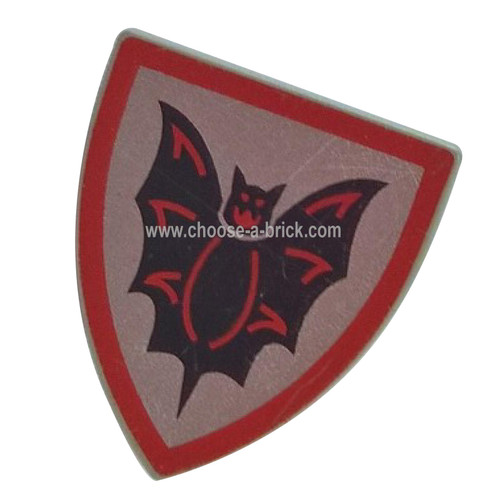 Shield Triangular with Black Bat on Silver Background Pattern - LEGO Parts and Pieces