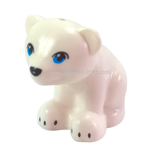 White Bear, Friends - Elves, Cub, Sitting with Dark Azure Eyes - LEGO Minifigure Animals, Black Nose and Black Claws Pattern