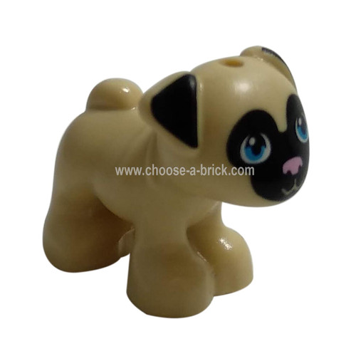 Tan Dog Pug with Black Face and Ears, Bright Pink Nose, and Dark Azure Eyes Pattern- LEGO Minifigure Animals