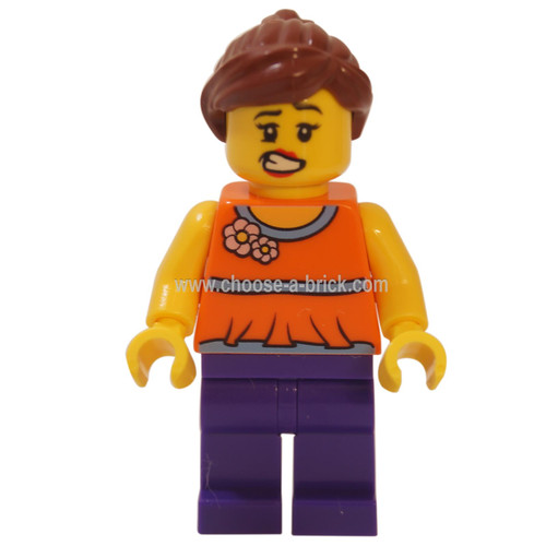 LEGO Minifigure - Orange Halter Top with Medium Blue Trim and Flowers Pattern, Dark Purple Legs, Reddish Brown Ponytail and Swept Sideways Fringe
